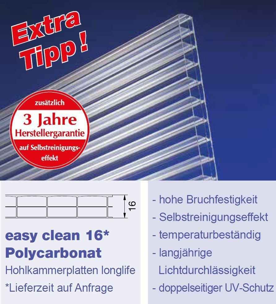 16mm easy clean hohlkammerplatten polycarbonat klar nano effekt. Black Bedroom Furniture Sets. Home Design Ideas