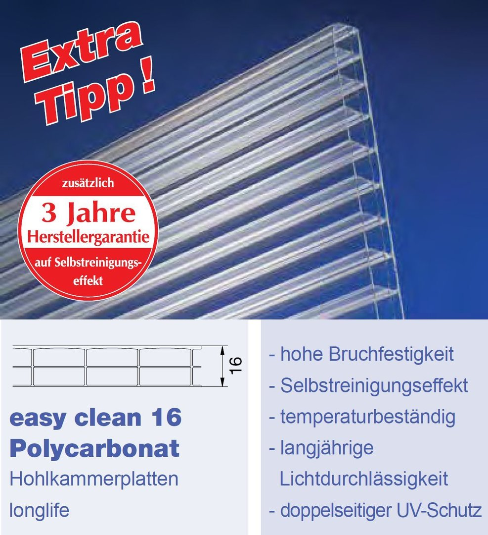 16mm Easy Clean Hohlkammerplatten Polycarbonat Klar Nano Effekt