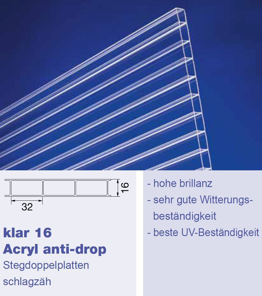 16mm stegdoppelplatten sdp16 16 32mm klar acrylglas g nstig neu. Black Bedroom Furniture Sets. Home Design Ideas