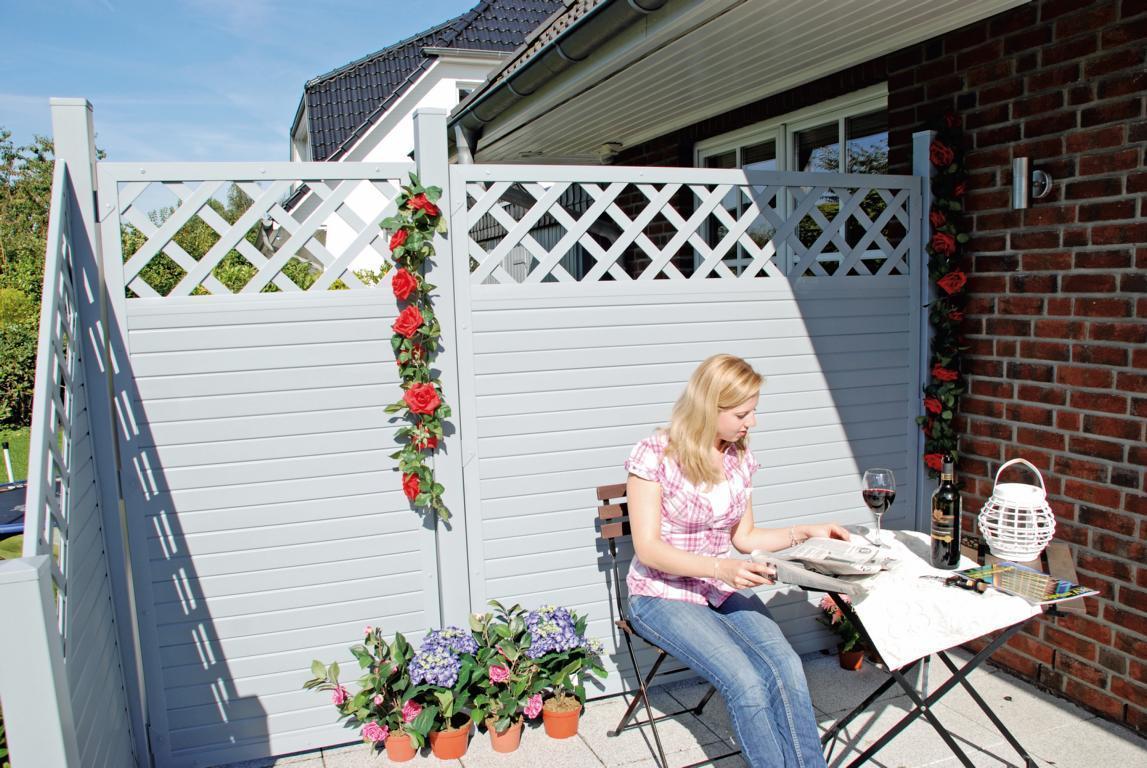 lightline sichtschutz 180x180 90 cm gitter silbergrau 46217. Black Bedroom Furniture Sets. Home Design Ideas