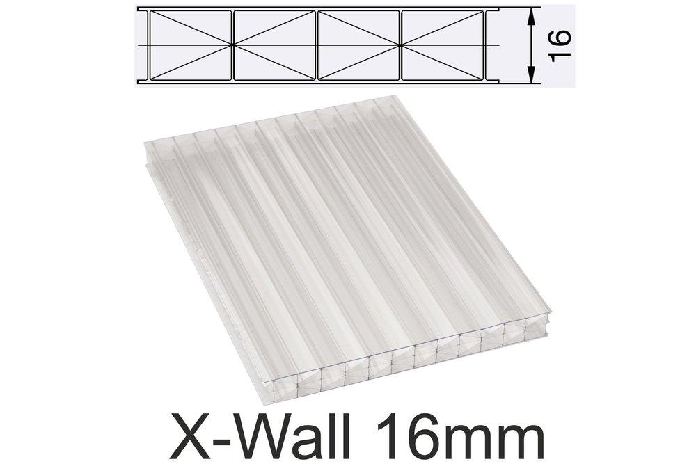 16mm Hohlkammerplatten X Wall Klar Polycarbonat Stegplatte Marlon