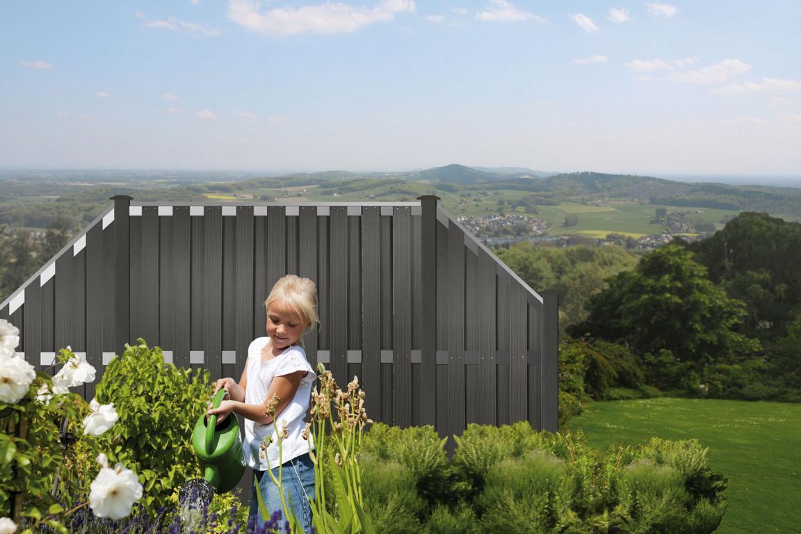 Kanton Serie anthrazit Alu WPC 180x180cm WPC Sichtschutz